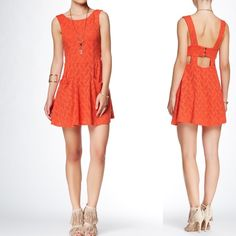 """By Free People Lace Poppy Dress hobo punk rock Free People Lace Poppy Dress.                 Color: PERSIMMON New with tag Style #: OB413156 A scooped & sleeveless LBD is styled with cutout details and drop pockets. - Scoop neck - Sleeveless - Back button closure - 2 front drop pockets - Approx. 33"""" length - Imported  Fiber Content: Shell: 56% nylon, 40% cotton, 4% spandex Lining: 100% rayon  Care: Machine wash cold  Additional Info: Fit: this style fits true to size Free People Dresses Midi"""