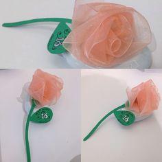 Rosa di nastro#Flower #nastro #rosa #creazione #artigianale #laboratorioartigianale #creativity #creation #segnaposto #bomboniere