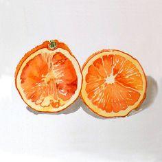 1. naranjas pintura acuarela imprimir frutas arte por LaBerge