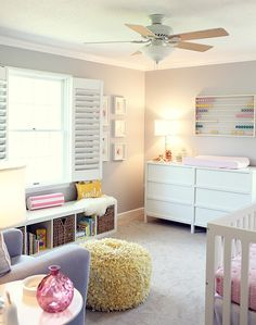 Colorful, cozy nursery. Cheap Ikea abacus (sp??) just paint it up in coordinating colors