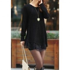 $12.73 Lace Splicing Long Sleeves Round Neck Acrylic Refreshing Style Sweater For Women