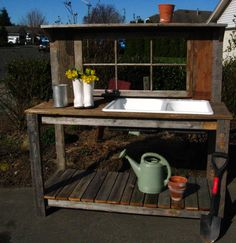 Garden Potting Bench | Potting Bench with Sink Rustic Window Sink P.B. – Dream Garden ... Rustic Potting Benches, Potting Bench With Sink, Pallet Garden Benches, Pallet Potting Bench, Potting Tables, Old Sink, Potting Sheds, Outdoor Sinks, Outdoor Garden Sink