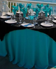 TURQUOISE AND BLACK WEDDING DECOR mine would be red and purple though