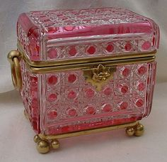Antique Baccarat Cranberry and Crystal Casket…Double Handles and Ball Feet. Baccarat Superior Quality. Unsigned