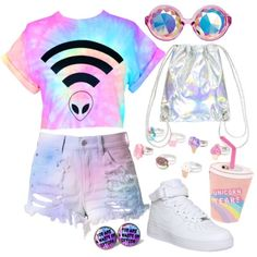 Designer Clothes, Shoes & Bags for Women Pastel Goth Outfits, Pastel Goth Fashion, Kawaii Fashion, Cute Fashion, Ddlg Outfits, Teen Fashion Outfits, Kids Outfits Girls, Cute Outfits For Kids, Cute Swag Outfits