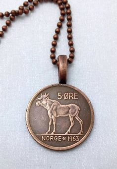 Coin Jewelry - Vintage Norse MOOSE COIN NECKLACE - Norway - Norwegian - Elk - man - woman - Scandinavian - viking - moose jewelry