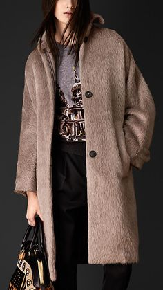 Brushed Wool Slouchy Caban   Burberry