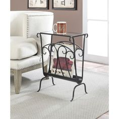 Convenience Concepts Wyoming Wrought Iron Glass Top End Table