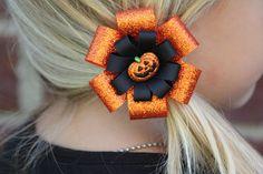Halloween Bow Hair Clip Orange and black Slide Children/'s  Hair Clip Accessory