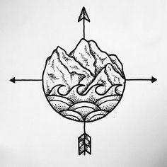 fine arrows, compasses, mountains, waves tattoo ideas on TATLUV ▲ arrow tattoos, co. Totem Tattoo, Herz Tattoo, Tattoo Drawings, Tiny Tattoo, Trendy Tattoos, New Tattoos, Cool Tattoos, Wave Tattoos, Compass Tattoo