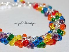 RAINBOW Bracelet, Fringe Beads, Miyuki Beads, Gifts for Teens, Gifts for Geeks, Equality Jewelry, Colorful Fluffy Cloud Tiny Beaded Bracelet by uniQue2ChicDesigns on Etsy https://www.etsy.com/listing/195886843/rainbow-bracelet-fringe-beads-miyuki