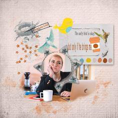 he brings me coffee My Coffee, Giraffe, Layouts, Bring It On, Bird, Creative, Design, Felt Giraffe, My Coffee Shop