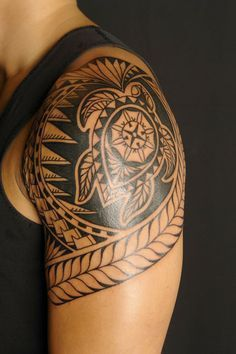 Cool Tattoo Design Ideas | tribal turtle tattoo designs for men on sleeve #hawaiiantattoos
