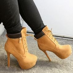 timberland stilettos | shoes high heels boots timberland heels cute heels combat heels tan ...