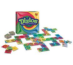 A new twist on dominos, Dizios matches colors instead of dots in this mind-spinning game, which awards points for the tiles you play next to, not for the tile you play. From MindWare. Relay Games For Kids, Games For Little Kids, Camping Games Kids, Board Games For Kids, Games For Teens, Pizza Games, Dots Game, Bible Games, Game Sales