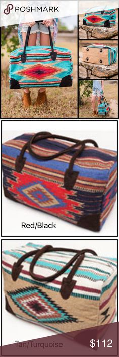 """HPBoho Southwestern Weekender Bag Oversized weekender travel bag in bohemian beautiful Southwestern Weekender Duffle Bag is a South Western blanket fabrics trimmed and accented in elegant brown suede leather handles. Makes an amazing gym, weekend or travel bag. Only colors available are red/black, tan/turquoise and gray/green. This bag is an oversized large weekender measuring 22""""L x 11""""W x 13""""H Gemini Mermaids Bags Travel Bags"""