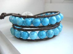 'Chunky Turquoise Leather Wrap Bracelet ' is going up for auction at  9am Tue, Jul 10 with a starting bid of $5.