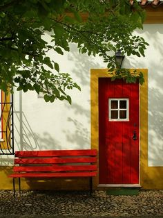 Alentejo, Portugal. When I paint the front door this spring, I'm going to paint the trim work a different color~~hadn't thought of that!