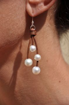 Freshwater Pearls and Leather 4 Pearl Earrings - White. $79.00, via Etsy.