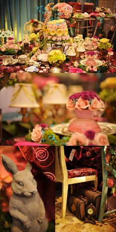 Alice in Wonderland Mad Hatters Table -  I love all the detail of this table. The whimsical blend of the patterned linens and garden flowers makes this table design enchanting.