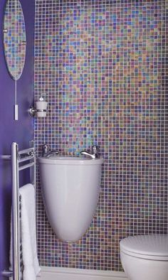 Fun, expressive and colorful - a wonderful way to spruce up your bathroom or your children's bathroom. Childrens Bathroom, Trendy Bathroom, Purple Bathrooms, Small Bathroom, Mosaic Bathroom, Bathroom Tile Designs, Bathroom Flooring, Blue Mosaic Tile, Bathroom Design