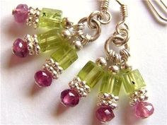 Pink Tourmaline and Peridot cluster earrings in Sterling silver, by Pink Owl Jewelry Owl Jewelry, Ethnic Jewelry, Jewelery, Handmade Jewelry, Unique Jewelry, Handmade Gifts, Pink Owl, Cluster Earrings, Pink Tourmaline