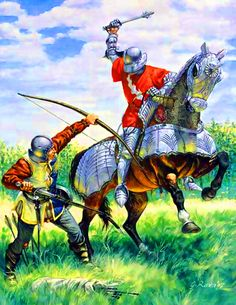 Battle between a French knight and an English archer