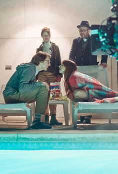 "(L-R) Actor Paul Dano as ""Calvin,"" director Valeria Faris, actress/writer Zoe Kazan as ""Ruby"" and director Jonathan Dayton on the set of RUBY SPARKS. Photo Credit: Merrick Morton"