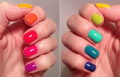 Hell yes rainbow nails! (Killer Colours) : From purple pinkie to blue pinkie: Essie – Dj Play That Song Essie – Bottle Service Idun Minerals – Korall Essie – Roarrrrange China Glaze – Sun Worshiper Nordic Cap – Essie – The More The Merrie Hell rainbow Nails For Kids, Fun Nails, Pretty Nails, Bright Nail Polish, Nails Polish, Colorful Nails, Multicolored Nails, Bright Nail Art, Bright Colors
