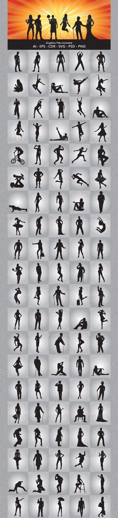 Various People Silhouettes  #GraphicRiver         Various People Silhouettes vector design. In this files include AI and EPS versions. You can open it with Adobe Illustrator CS and other vector supporting applications. I hope you like my design, thanks  	 Graphics Files Included : AI ( Adobe Illustrator ) EPS (Encapsulated Postscript ) V.10, PNG ( Portable Network Graphics ) without background / transparent