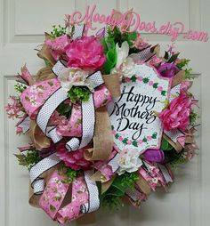 Mother's Day Wreath Mothers Day Mother's Day Gift Spring Spring Wreath Gifts Gift for Mom Spring Door Wreath Spring Door Wreaths, Easter Wreaths, Deco Mesh Wreaths, Summer Wreath, Wreaths For Front Door, Christmas Wreaths, Floral Wreaths, Burlap Wreaths, Diy Wreath