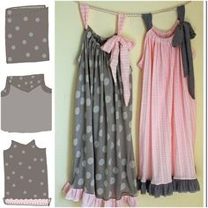 21 free sewing tutorials and patterns for kids' pajamas - It's Always Autumn - Pillowcase Nightgown Tutorial – Super Easy Sewing Project Easy Sewing Projects, Sewing Hacks, Sewing Tutorials, Sewing Crafts, Sewing Patterns, Tutorial Sewing, Sewing Ideas, Pillowcase Tutorial, Sewing Tips