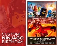 Ninjago Invitation, Ninjago Birthday Invitation, Ninjago Birthday, Ninjago Invite, Ninjago Birthday Card, Ninjago Printable, Ninjago Party