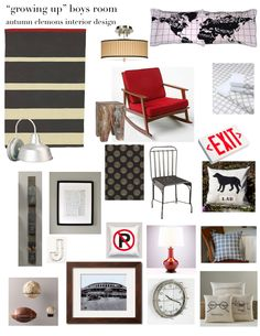 "Design board by Autumn Clemons. Great ""big boy"" room."