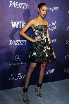 Joan Smalls in Monique Llhuillier. [Photo by Amy Graves]