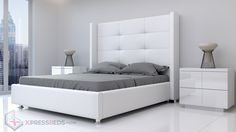 Modern Beds Miami - Xpress Beds : Xpress Beds provides a Contemporary beds in a number of attractive designs at affordable prices. Also offers high quality furniture with fast home delivery. Modern Bedroom Furniture, Contemporary Furniture, Tall Headboard, High Quality Furniture, White Bedding, Double Beds, Platform Bed, Modern Beds, Ikea