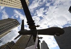 A model of a drone on display as New Yorkers gather to protest Israelís military assault in Gaza during a rally at Foley Square July 24, 2014 manhattan new york