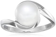 Sterling Silver White Freshwater Cultured Pearl Ring (5.5-6mm), Size 8