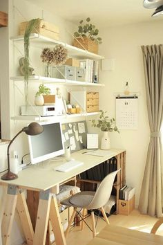 29 Gorgeous Shabby Chic Kitchen Decor Ideas that are Comfy, Cozy and Sweet - The Trending House Home Office Space, Home Office Design, Home Office Decor, Home Decor, Ikea Office, House Design, Study Room Decor, Room Ideas Bedroom, Bedroom Decor