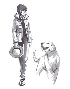 The Strawhats with their dogs: Luffy & a golden retriever (by hazelisque on tumblr)