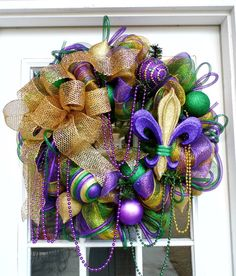 Mardi Gras Deco Mesh wreath with Fleur de Lis