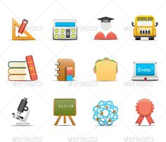 12 School Icons by grki Vector set of school and education icons. ZIP contains EPS and high resolution JPEG files.