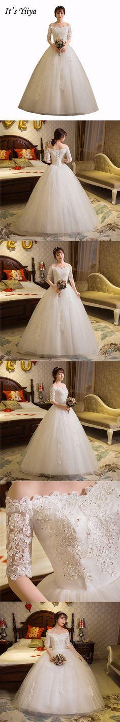 Free Shipping 2017 Plus size Boat neck Lace Half Sleeves Lace Bling wedding  Dresses Bride Ball Gowns Vestidos De Novia HS259 f7c6dc8b0ef0