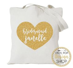 Bridesmaid Wedding Tote Bag (can be made for Maid of Honor, mother of the bride, mother of the groom, junior bridesmaid, flowers girls, etc.) What a lovely way to say Thank you to your bridal party! Fill these totes with goodies for your wedding party. Also a great way to propose