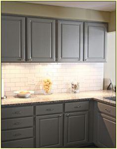 Gray Cabinets White Subway Tile Backsplash