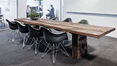 THORS Gaia rustic long table reclaimed wood plank table