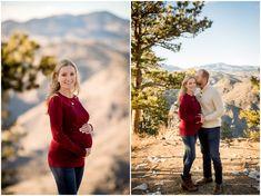 Golden maternity photos at Lookout Mountain by Colorado portrait photographer Plum Pretty Photography. CO winter pregnancy photography inspiration.