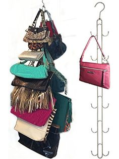 Over Door Hanging Purse Storage - DURABLE, Holds 50 POUNDS, ROTATES 360 for easy access; Purses, Handbags, Satchels, Crossovers, Backpacks,12 Hooks, Chrome