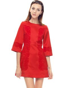 """SOLD OUT- ADD TO WAIT LISTIt ain't a party without you! So while you're there, make it worth their while with this stunning red lace cocktail dress. Featuring flare sleeves, an A-line skirt with mirrored floral lace along the side body and sleeves. Zip closure on back, fully lined. Have your dancing shoes ready, and a cute evening clutch, because the Mercer red cocktail lace dress is all you need for a night to remember. *70% cotton, 30% polyester*32""""/81cm bust*26""""/66cm waist*31""""/79cm ..."""