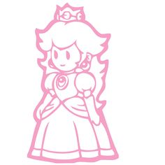 Princess Peach Super Mario Bros Wall Decal   by Acherryortwo, $4.99